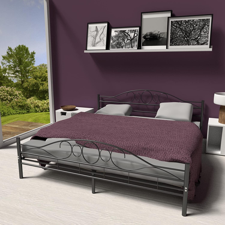 TecTake Cama de Metal Estructura con somier - Varios Modelos - (180x200cm, Negro)