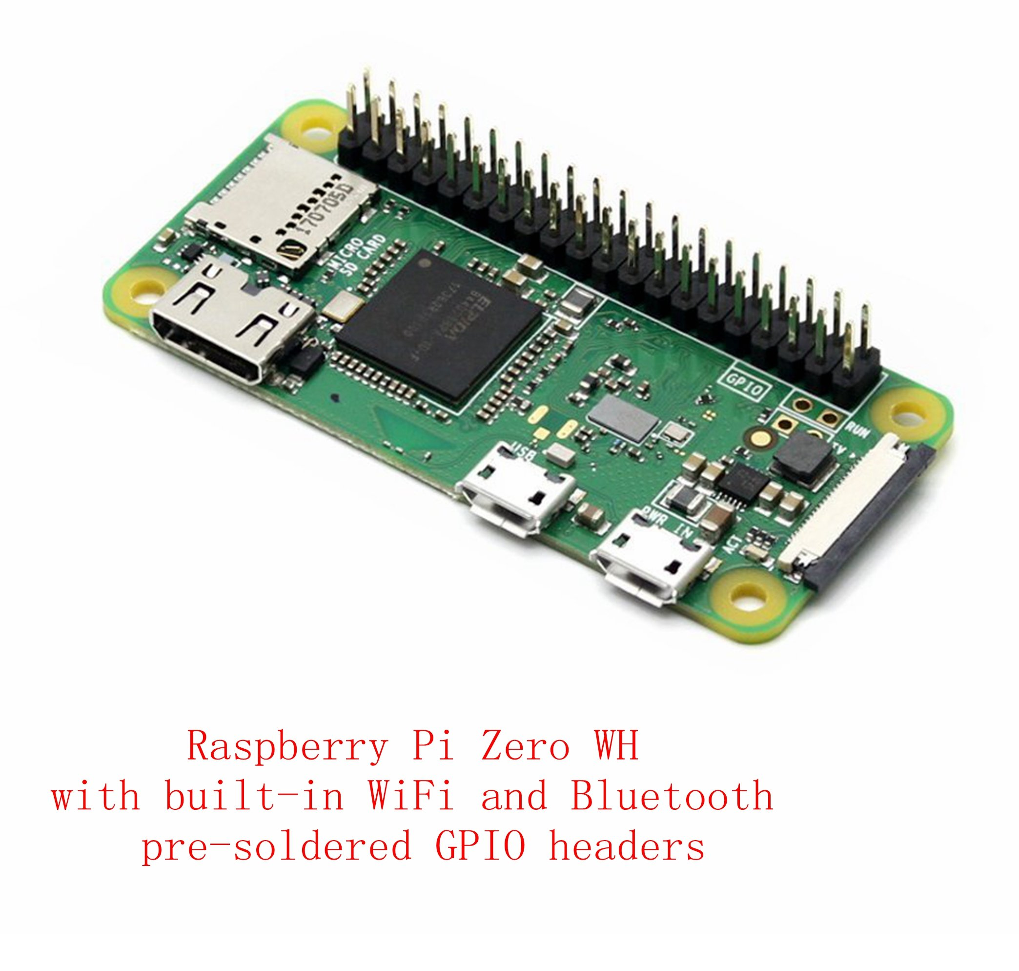 Pzsmocn Broadcom BCM2835,1GHz ARM11 Single-core processor,512MB RAM, Raspberry Pi Zero WH, with built-in WiFi and Bluetooth,40PIN pre-soldered GPIO Headers.