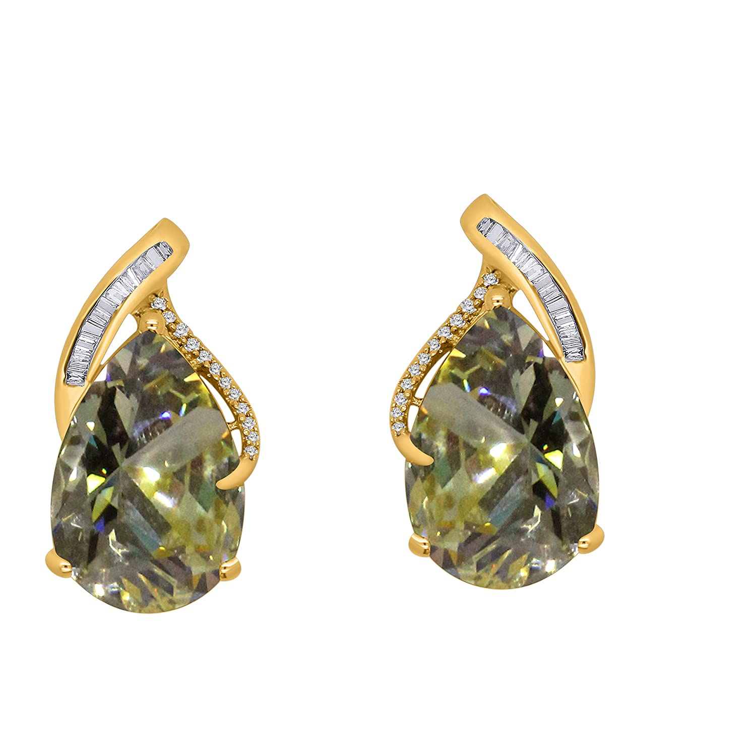 15X10MM Pear Fancy Yellow Topaz /& 0.18 Ct Diamond 14K Gold Over Sterling Silver Solitaire Stud Earrings