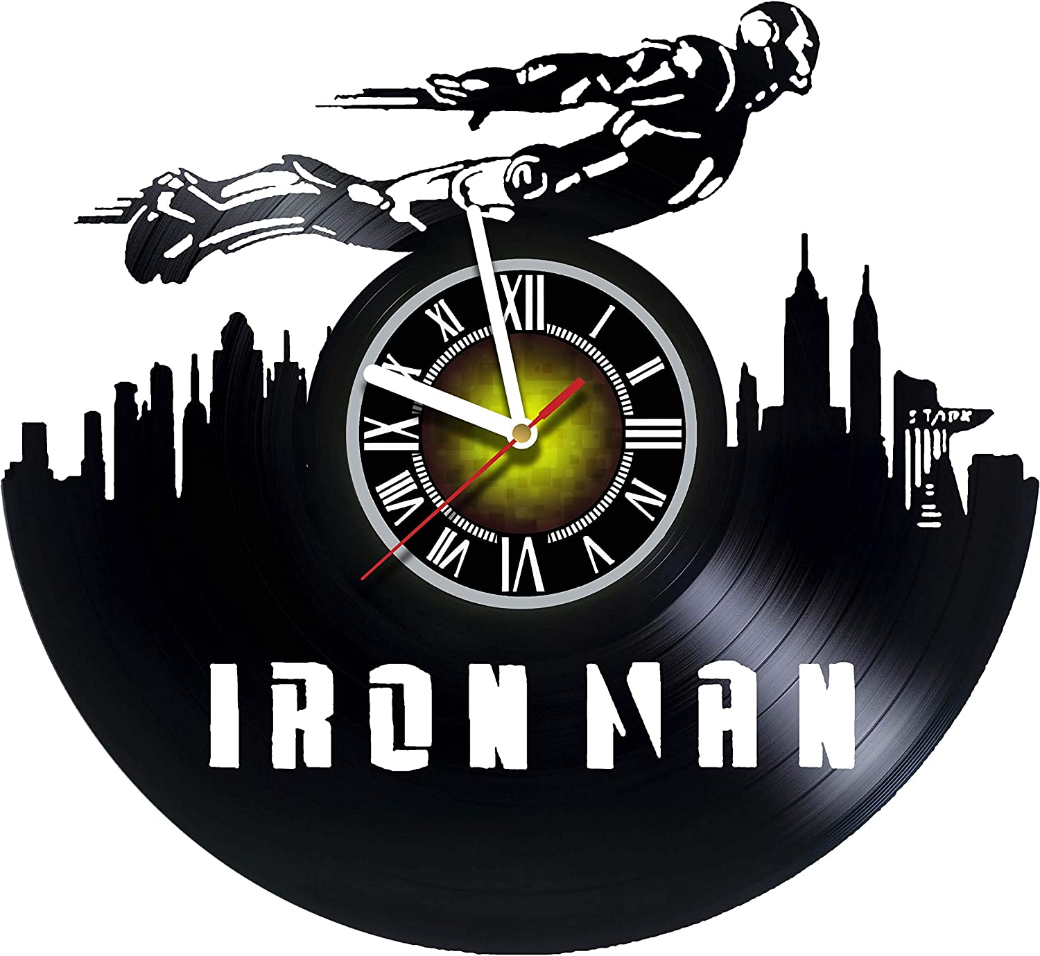 Amazon Com Toffy Workshop Iron Man City Vinyl Wall Clock Get Unique Gifts Presents For Birthday Christmas Ideas For Boys Girls Men Women Adults Him And Her Sport Unique