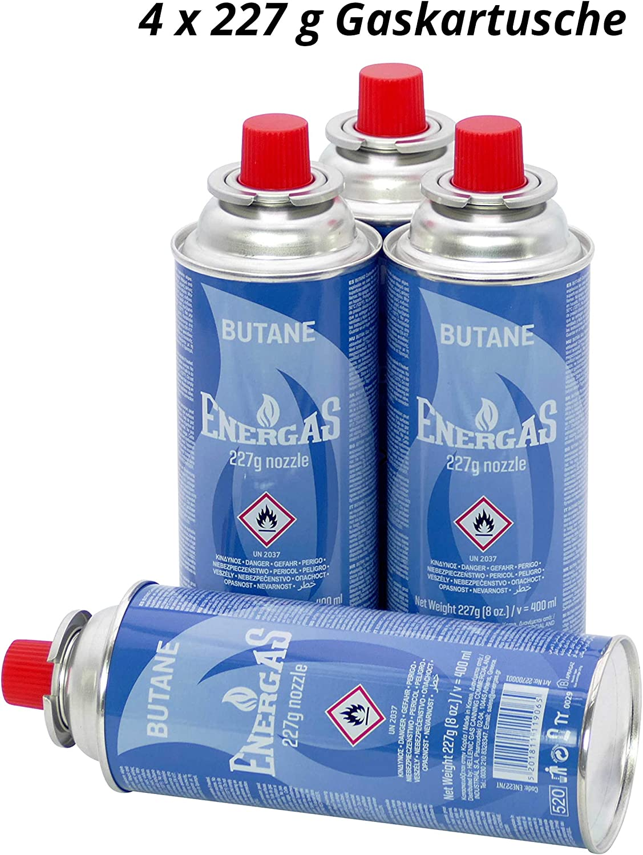 4 cartuchos de gas butano de 227 g con válvula para parrilla, soplete, hornillo de camping, calefacción de gas, hornillo de gas, hornillo de soldador, ...