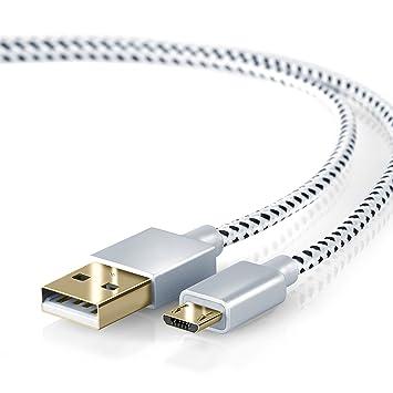 CSL - 2m Premium Cable MicroUSB a USB de Alta Velocidad - Nylon Trenzado - Cable Cargador y de Datos - Cable de Carga rápida - Contactos Recubiertos ...