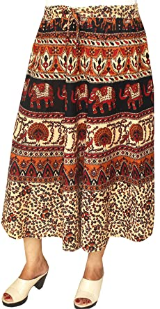 Algodón impreso Womens verano falda larga indio ropa Rojo Maroon 4 ...