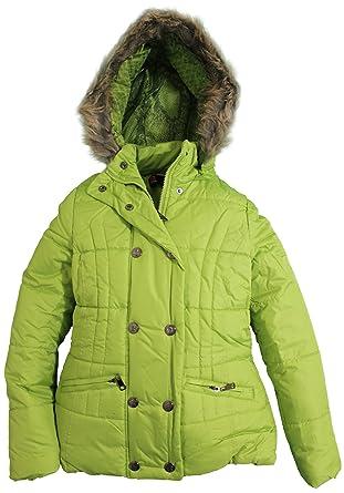 b772288071d Amazon.com: Dollhouse Juniors Removable Faux Fur Trim Hooded Puffer Jacket  - Green Apple (Medium): Clothing