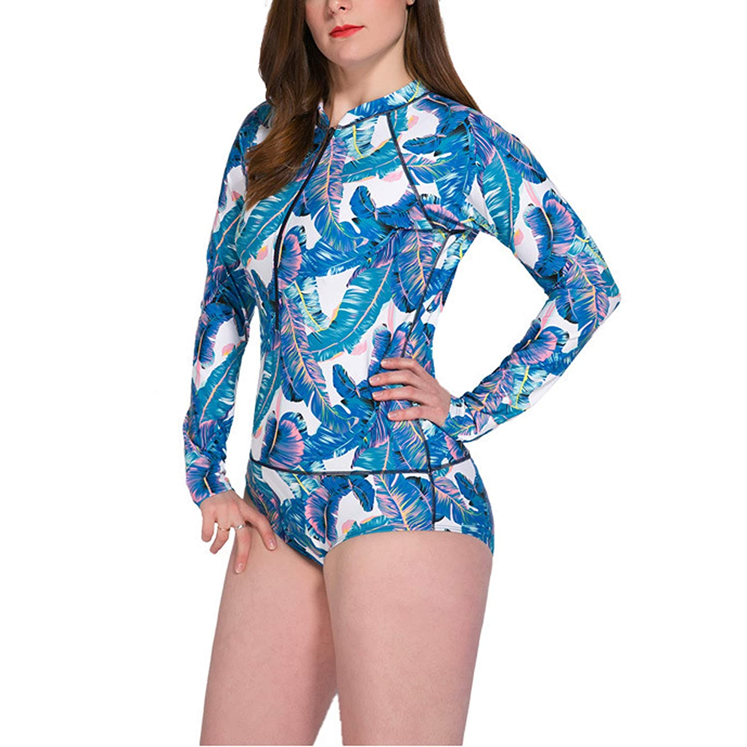 bluee BLOOMMY One Piece Swimsuits for Women, UV Predection Long Sleeve Rashguard for Women Plus Size