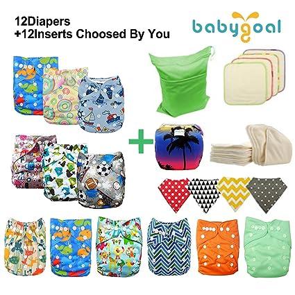 babygoal bebé ajustable reutilizable gamuza de bolsillo pañales pañal 12 + 12 inserciones
