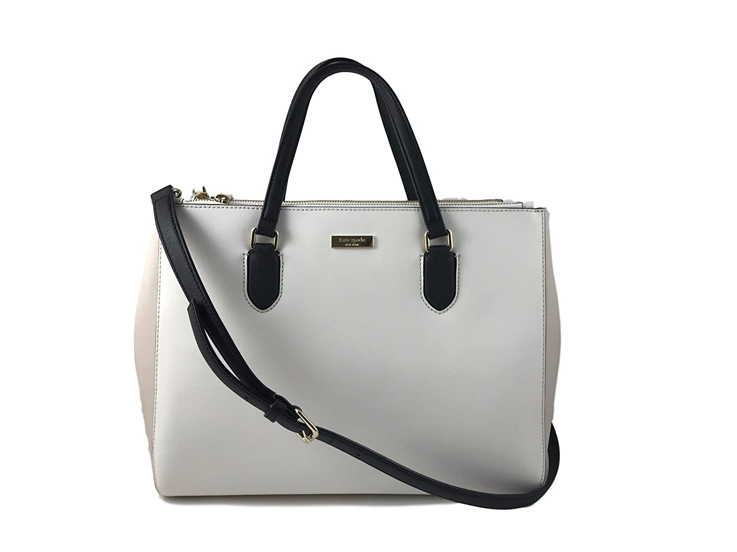 Kate Spade Leighann Laurel Way Saffiano Leather Tote Shoulder Bag Purse Handbag for Work School Office Travel, Cream Black 00_NPOXSUWC_02