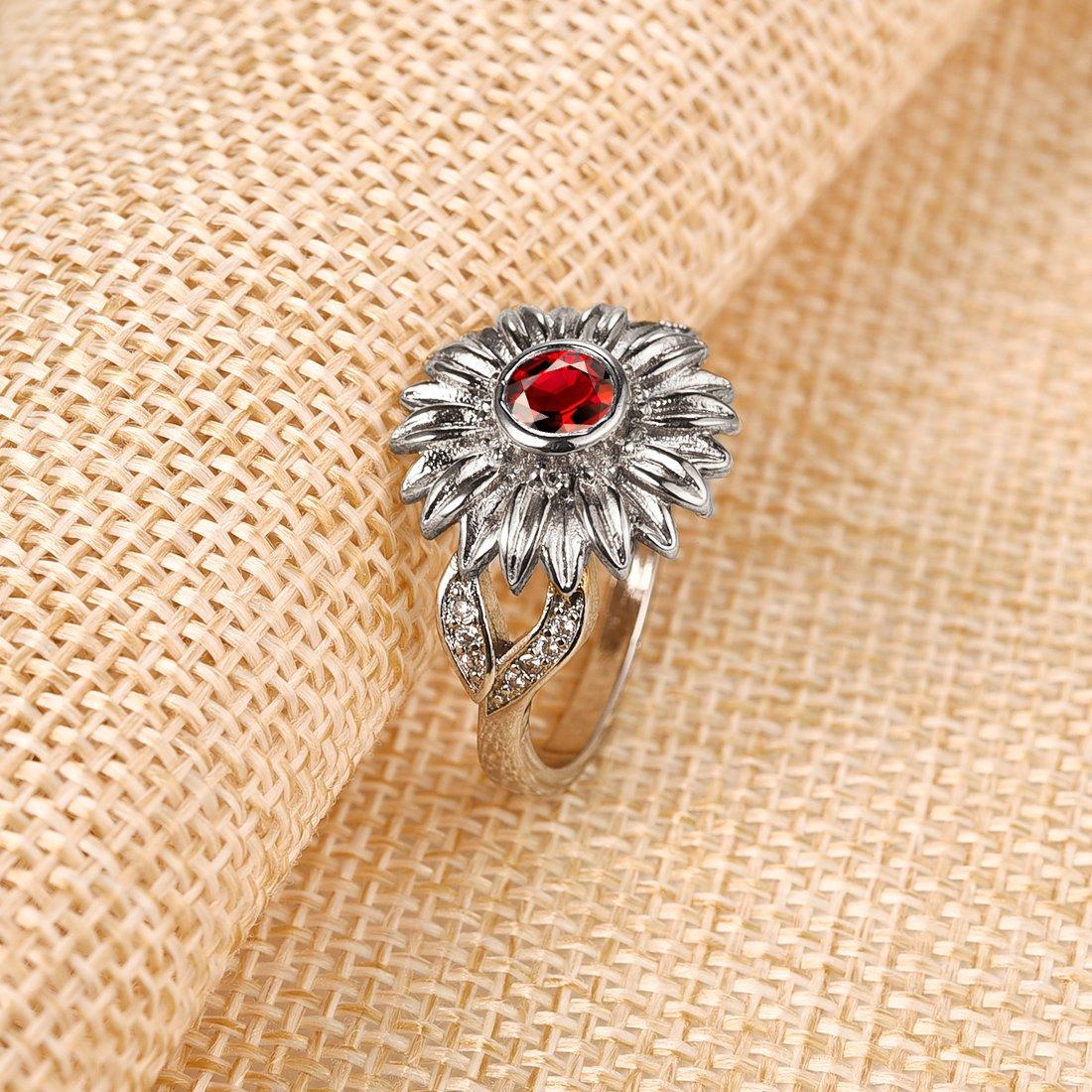 78f4dd5f65d9c DALARAN Sunflower Cubic Zirconia Ring with Side Stone Copper Leaf ...