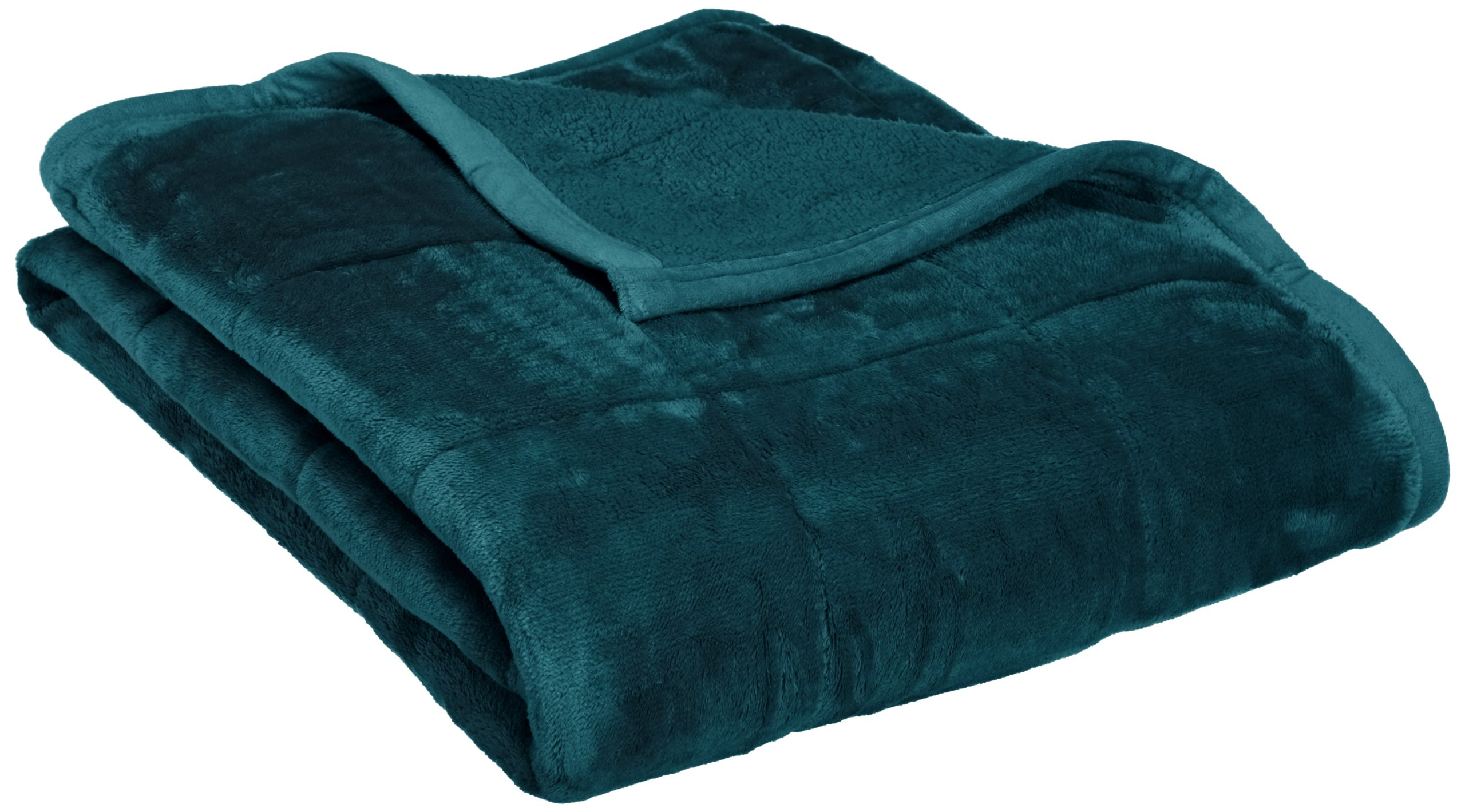 Northpoint Baroque Quilted Berber Reversible Throw Blanket, Teal - 100% Polyester Down Alternative Fill Unique soft and silky feel - blankets-throws, bedroom-sheets-comforters, bedroom - 81Snq8s6h9L -