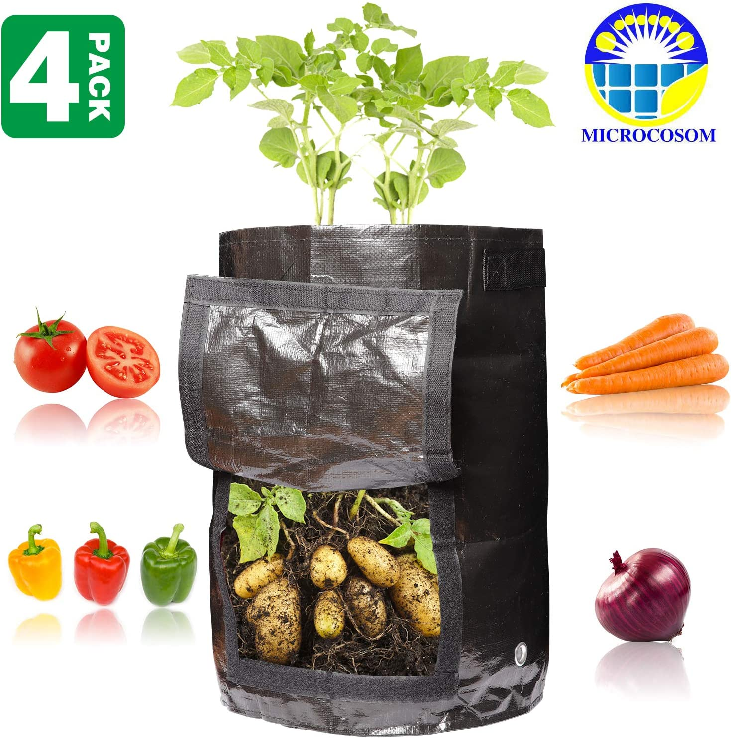 Microcosom Potato Vegetable Planter Grow Bags 10 Gallon with Handles and Easy to Open Access Flap, Potato Vegetable Planter Grow Bag, 4-Pack 10 Gallon Smart Grow Bags for Potato Plant