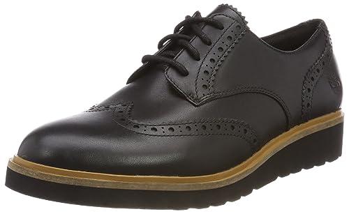 Timberland Ellis Street Wing Tip, Zapatos de Cordones Oxford para Mujer, Negro (Jet Black Prince 015), 38.5 EU