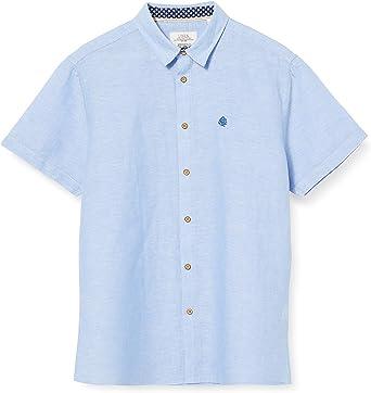 Springfield Linen Short Sleeve Franq-C/16 Camisa Casual, Azul ...