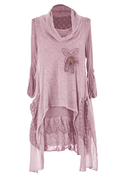 71eeed00bd77c TEXTURE Ladies Women Italian Lagenlook 2 Piece Knitted Cowl Neck Mohair  Wooden Button Tunic Dress One Size (Dusty Pink