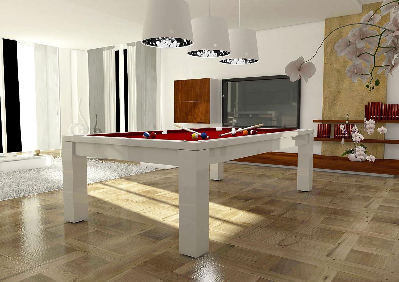 dafnedesign. com – Mesa de billar – Acabado Color Lacado Blanco – Tamaño: 254 x 127 cm – Piano de cubierta para trasformarlo de mesa de comedor – ist Personalizar el mesa –