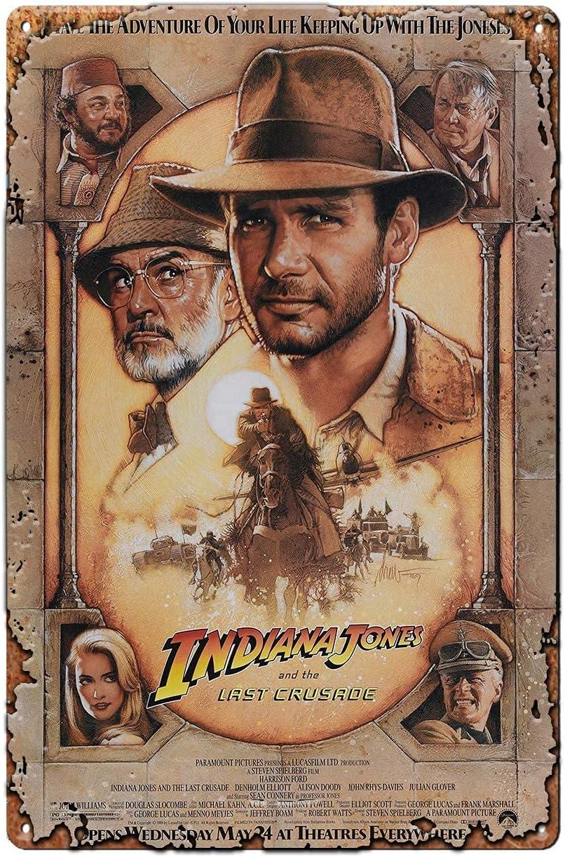 Indiana Jones and The Last Crusade Movie Film Metal Tin Sign Wall Art Decor,Retro Vintage Bar/Club/Pub/Man Cave/Garage Tin Sign Wall Plaque Home Decor 8x12 Inches