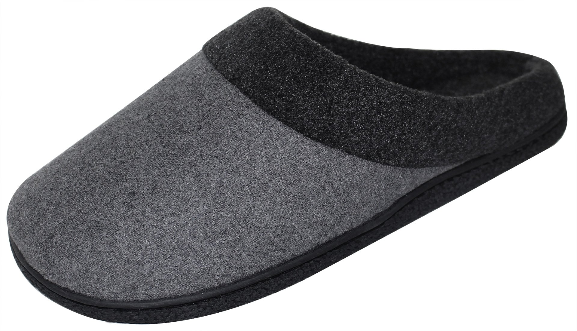 HomeIdeas Men's Woolen Fabric Memory Foam Anti-Slip House Slippers, Spring Summer Breathable Indoor Shoes by HomeIdeas