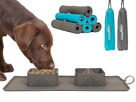 EasyPets Double Roll N Go - Juego de cuencos para perros y gatos Cuencos