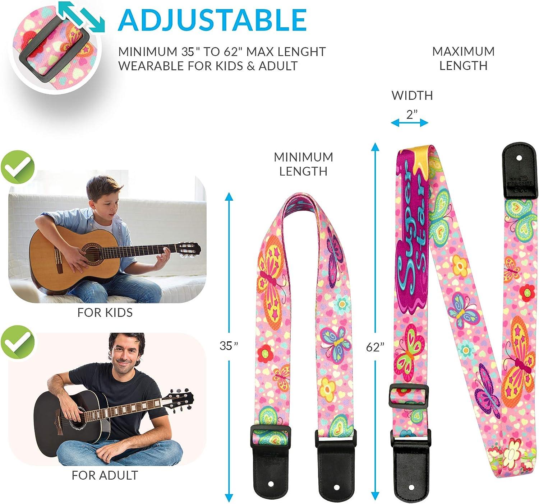 Colgador de guitarra rosa y ajustable para niñas y chicas – Pack ...