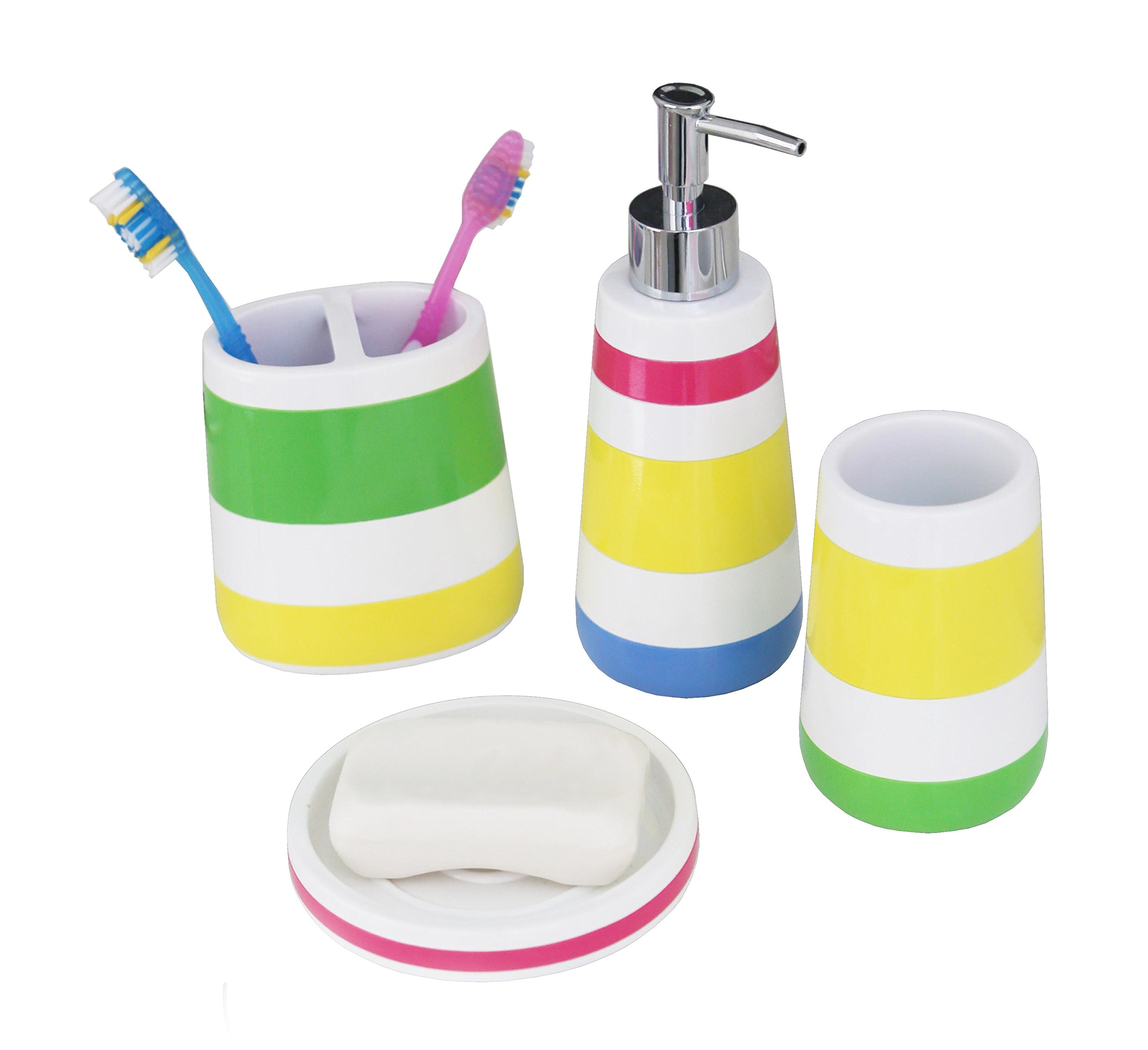 Hermosa Collection Colorful Four Piece Kids Baby Bathroom Fun Accessories Set by Hermosa Collection