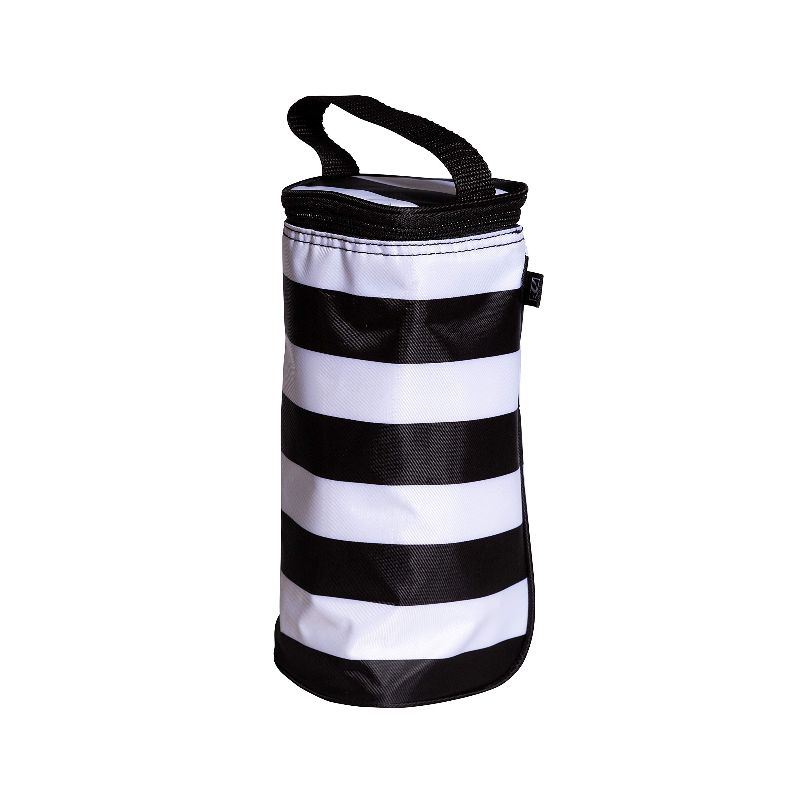 J.L. Childress Breastmilk Cooler & Baby Bottle Bag, Insulated & Leak Proof, Ice Pack Included, Single Bottle, Black/White Stripe by J.L. Childress