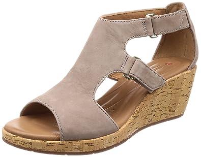 c8951676a1a Clarks Women s Un Plaza Strap Grey Nubuck Leather Fashion Sandals-3.5  UK India (