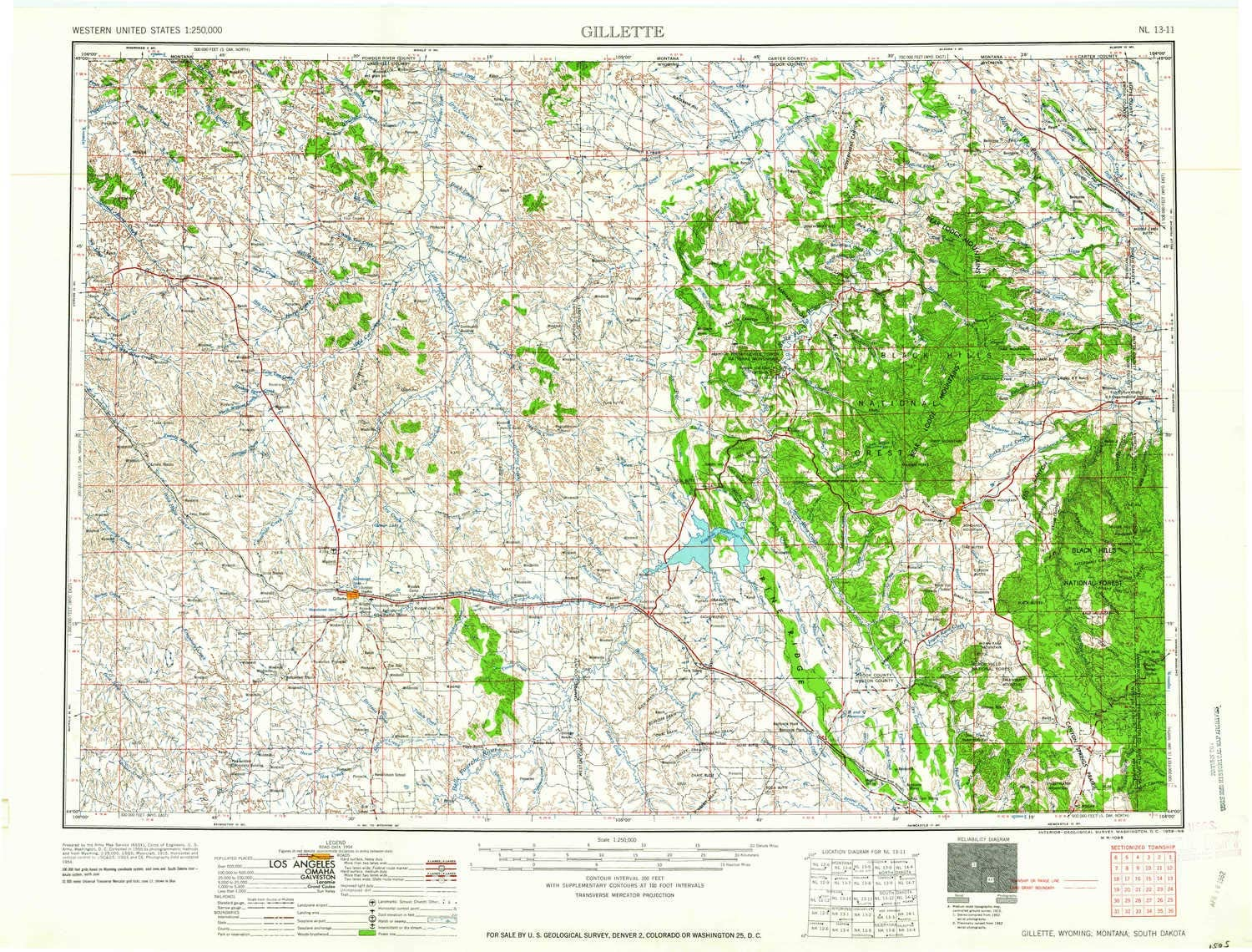 YellowMaps Gillette WY topo map, 1:250000 Scale, 1 X 2 Degree, Historical, 1958, Updated 1958, 22.1 x 29.1 in