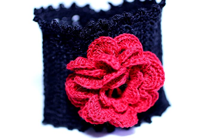 Amazon Irish Rose Cuff Bracelet Hand Crocheted Black And Red