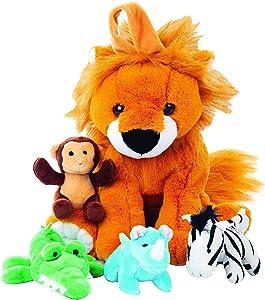 Plush Large Lion Carrier with 4 Mini Plush Animal Sound Toys   Plush Animal Toy Baby Gift   Toddler Gift (Lion Carrier with Animals)