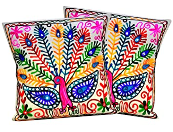 Amazon.com: 2pc Ethnic espejo trabajo hilo bordado pavo real ...
