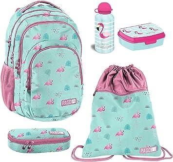 Juego de 5 mochilas grandes de flamenco + estuche + bolsa de gimnasio + porta merienda escuela primaria mediana, superiores: Amazon.es: Equipaje