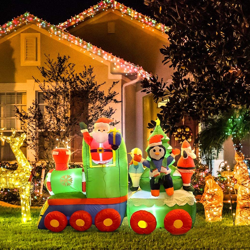 OURTOUR Christmas Inflatable 6.9FT Long Train Father Christmas Penguin Snowman Christmas Tree Outdoor Decoration Props LED Lights Snow Inside Holiday Party Decoration