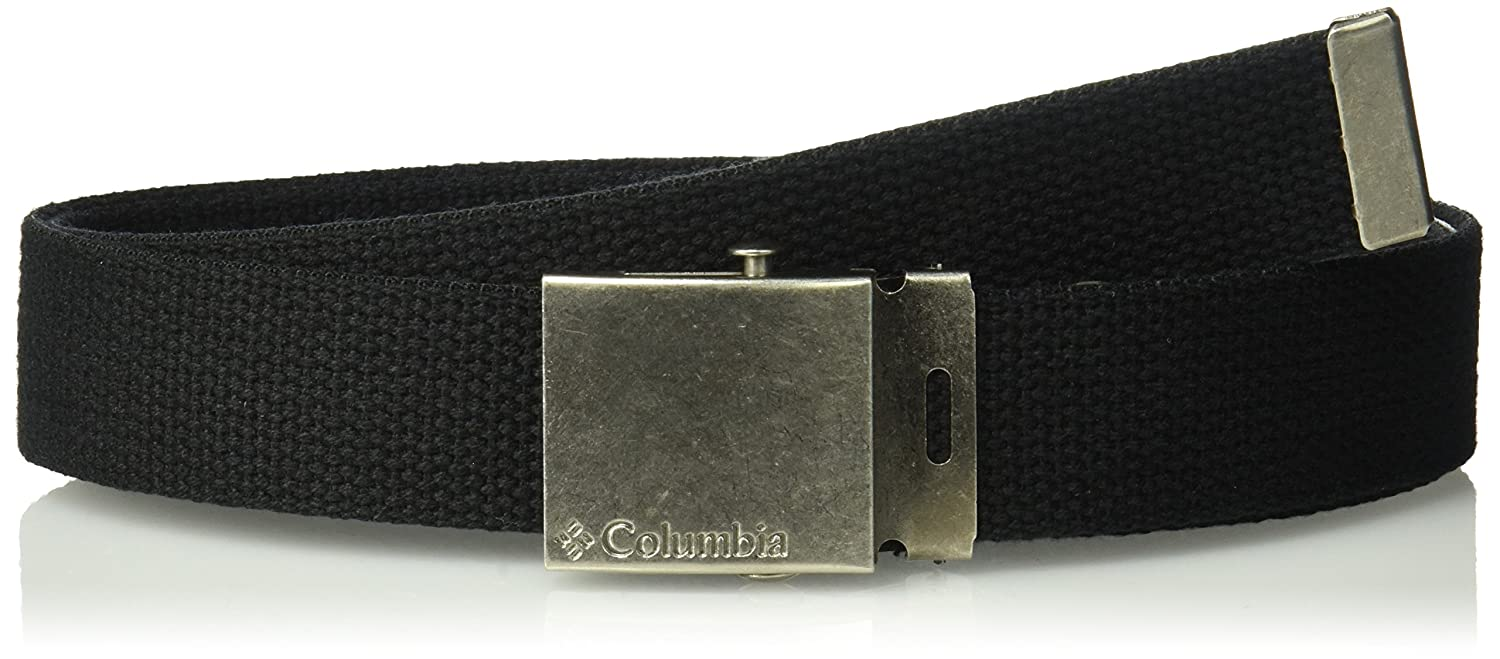 1dd9f1857fd57 Amazon.com: Columbia Men's Military Web Belt - Casual for Jeans Adjustable  One Size Cotton Strap and Metal Plaque Buckle,Black,One Size: Clothing