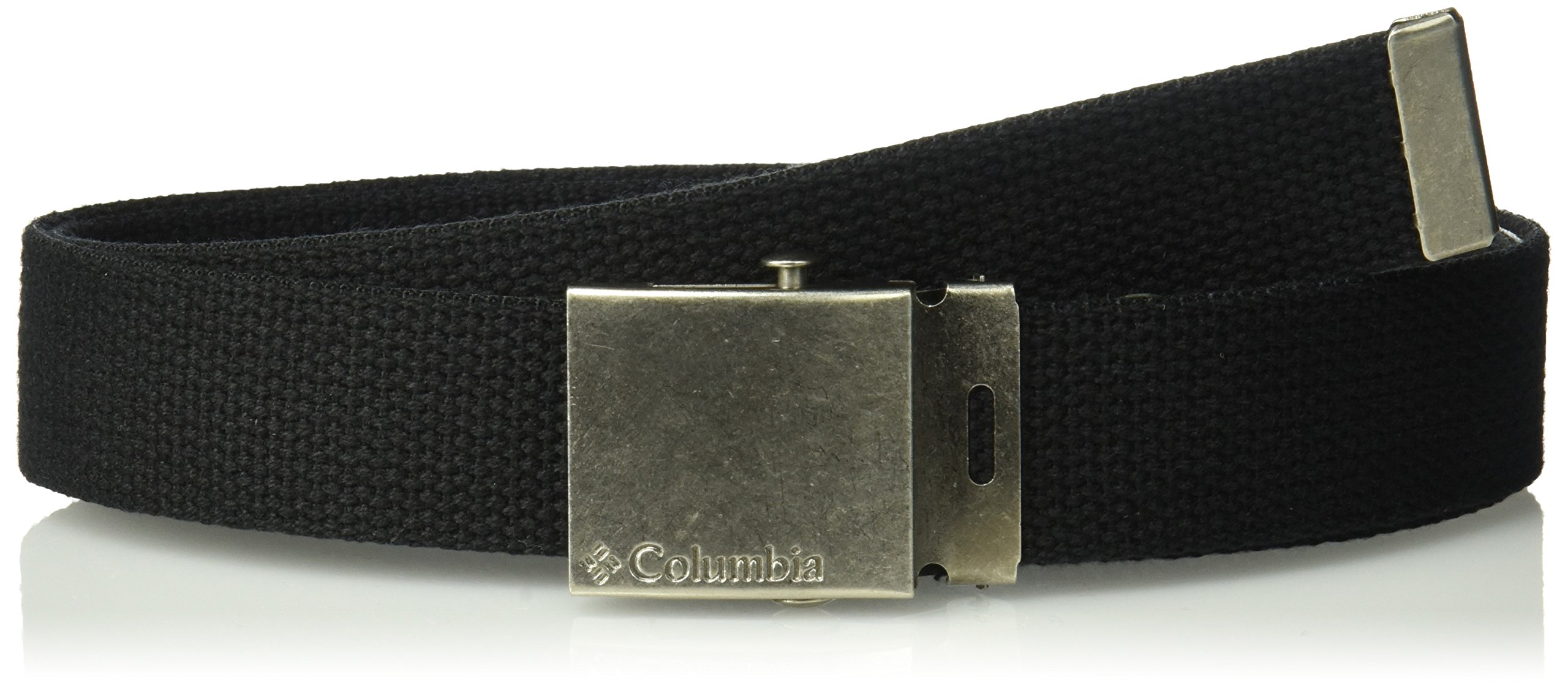 Columbia Big Boys' 1'' Wide Fabric Plaque Web Belt, Black, 1size
