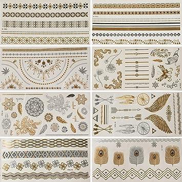 Gsn temporal tatuajes metálico tatuajes 8 hojas dorado y plateado ...