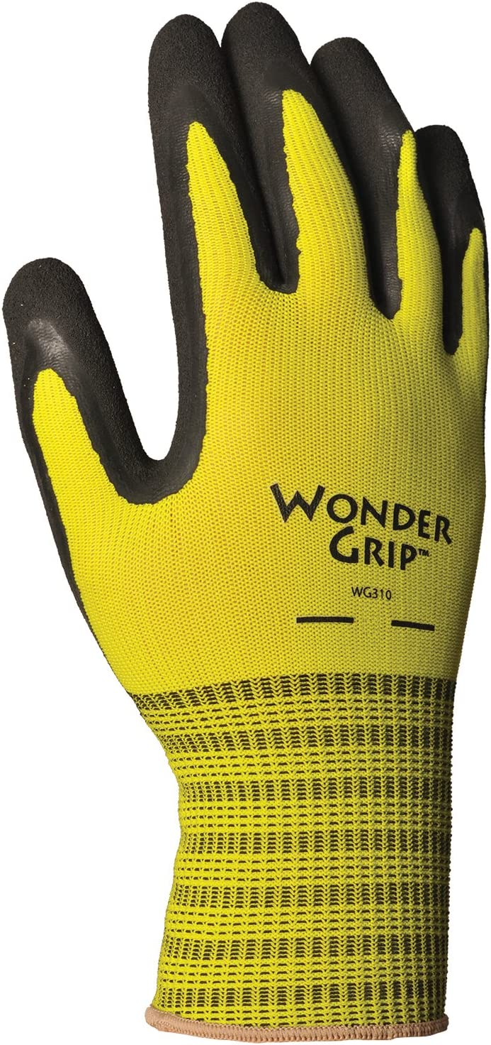 Wonder Grip WG310M Extra Grip Seamless Knit Work Gloves, Double-Coated Black Latex Palm, Excellent Wet or Dry Grip, Medium, Yellow