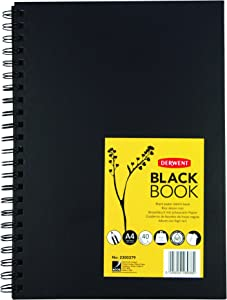 Derwent Black Paper Sketch Book - A4 Portrait, 40 Sheets, Acid-Free Paper, Wirebound Spine, Professional Quality, Black Book, 2300379