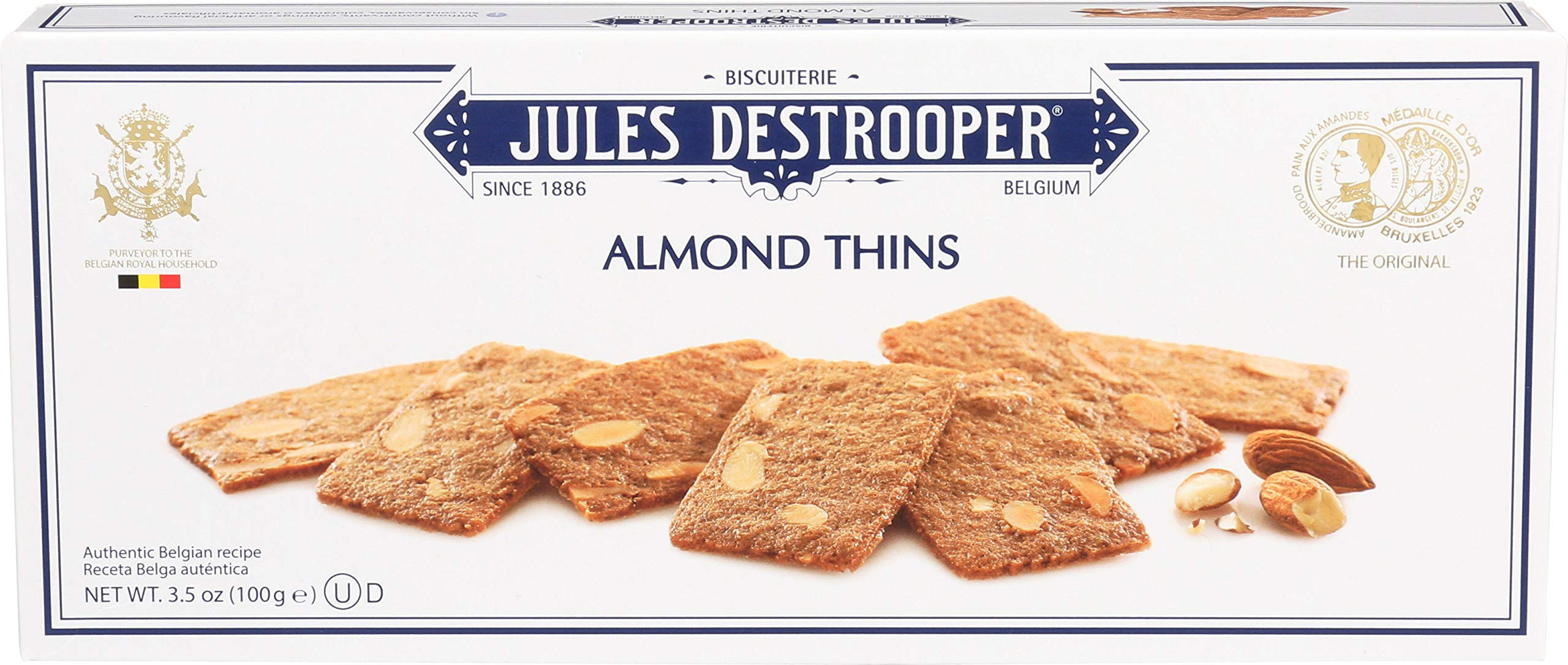 Jules Destrooper Almond Thins, Belgian Almond Butter Cookies, 3.5-Ounce Box (Pack
