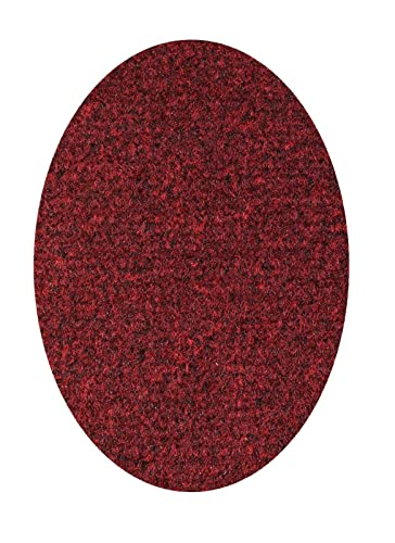 Ambiant Broadway Collection Solid Color Area Rugs with Rubber Marine Backing for Patio, Porch, Deck, Boat, Basement or Garage with Premium Bound Polyester Edges Red 3 X5 Oval