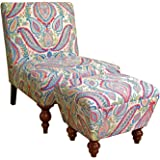 Kinfine Susan Upholstered Armless Accent Chair and Ottoman Set, Multicolored Paisley