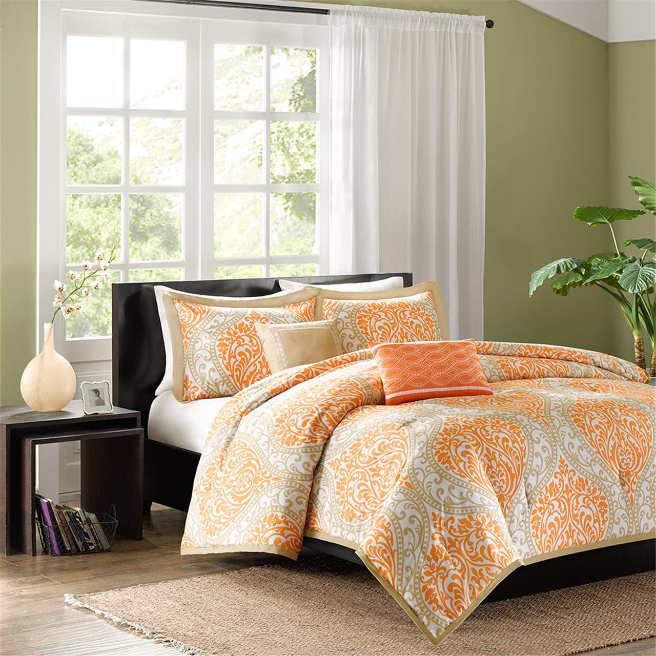 Intelligent Design Senna 5 Piece Comforter Set, Full/Queen, Orange