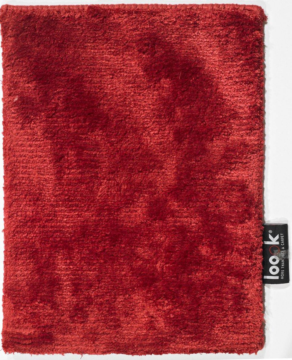 un Amour von Teppich 20067Look 430Uni Teppich natur für Wohnzimmer moderne Seide rot, rot, 200 x 300 cm