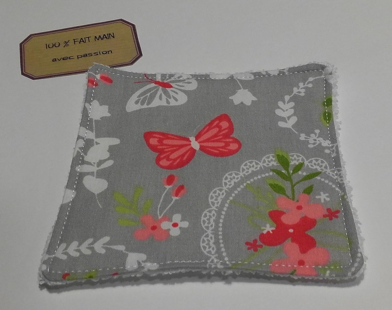 Lingette lavable bébé & maman 'Papillon rose'