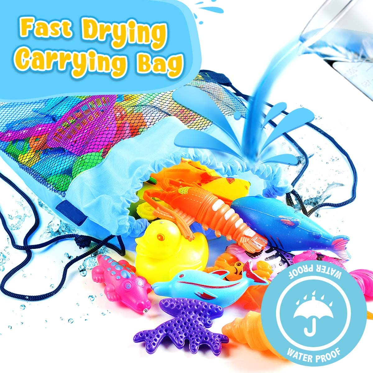 Magnetic Fishing Game Toy Set Bath Outdoor Indoor Carnival Party Water Table Fish for Kiddie Boys Girls Age 3 4 5 6 Years Old Gift Learning Pretend Play Cheffun Fishing Water Pool Toys for Kids