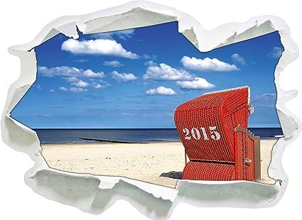 Decorazioni Per Casa Al Mare : Sedia a sdraio rosso al mare del nord di carta d autoadesivo