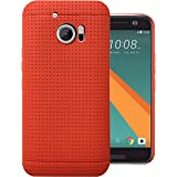 Heartly New Retro Dotted Design Hole Soft TPU Matte Bumper Back Case Cover For HTC 10 / HTC One M10 - Hot Red