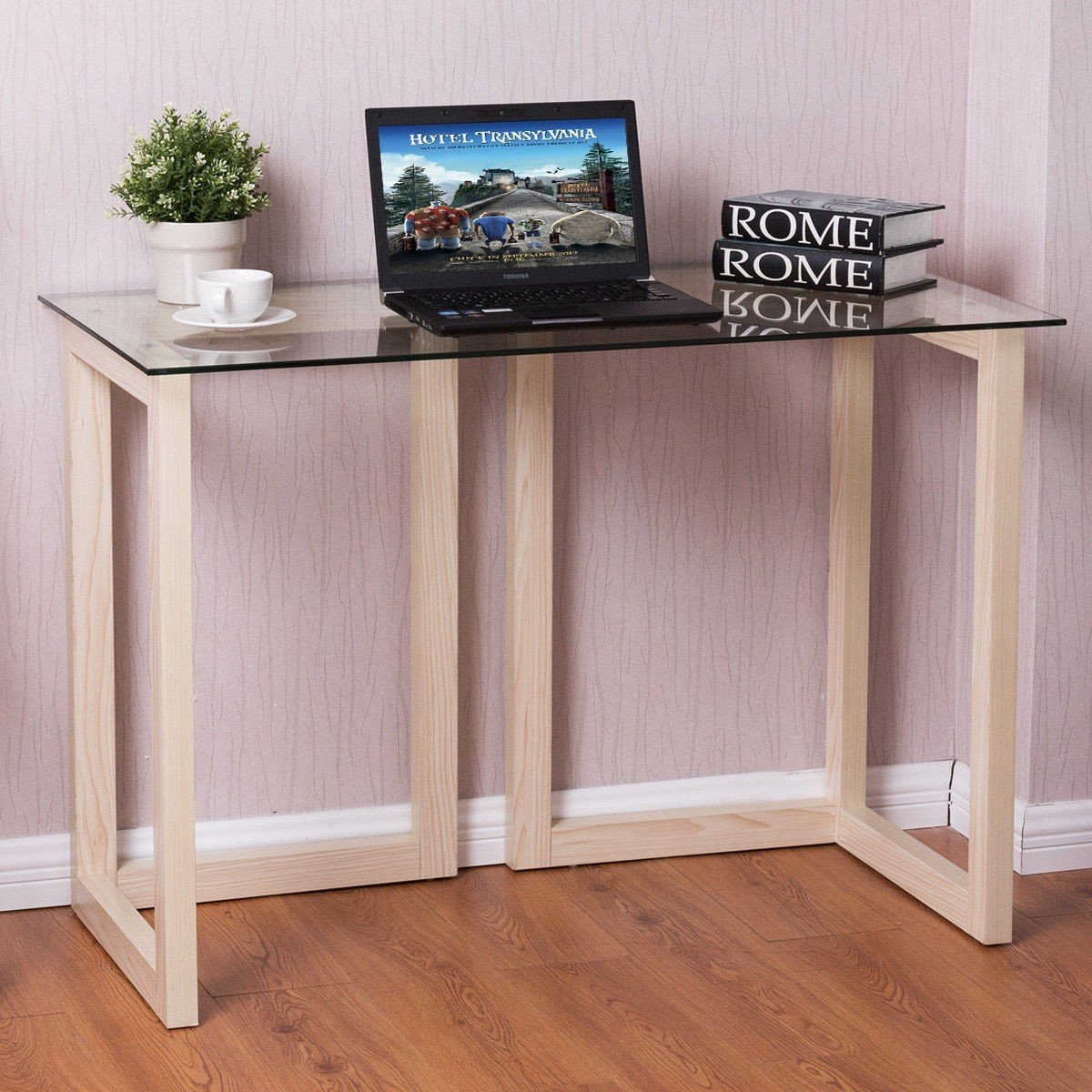44'' Tempered Glass Top Console Desk Sofa Accent Table Wood Entryway Furniture