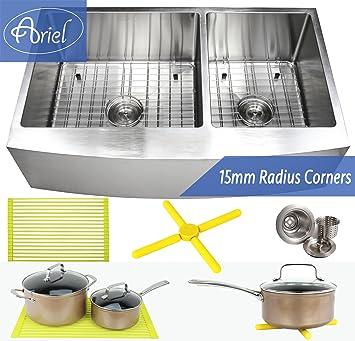 Ariel 36 Inch Farmhouse Apron Front Stainless Steel Kitchen Sink ...