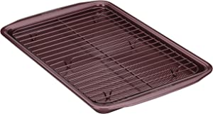 Circulon 47887 Nonstick Bakeware Set, Nonstick Cookie Sheet / Baking Sheet with Cooling Rack - 2 Piece, Merlot Red
