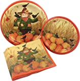 Scarecrow and Pumpkins Fall Party Supply Pack! Bundle Includes Paper Plates & Napkins for 8 Guests