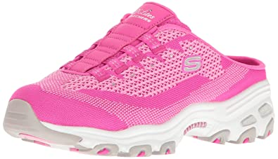 Skechers Sport Women's D'Lites a New Leaf Fashion Sneaker, Hot Pink Knit, 9 M US